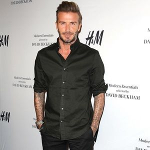H&M x DAVID BECKHAM Navy Button Up Shirt Sz M NWT